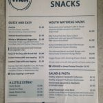 A list of all the meals and snacks provided at The Showroom Cafe and Bar
