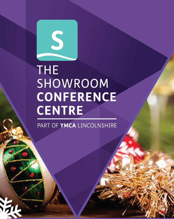 The Showroom Conference Centre, part of YMCA Lincolnshire logo set over Christmas tinsel and baubles