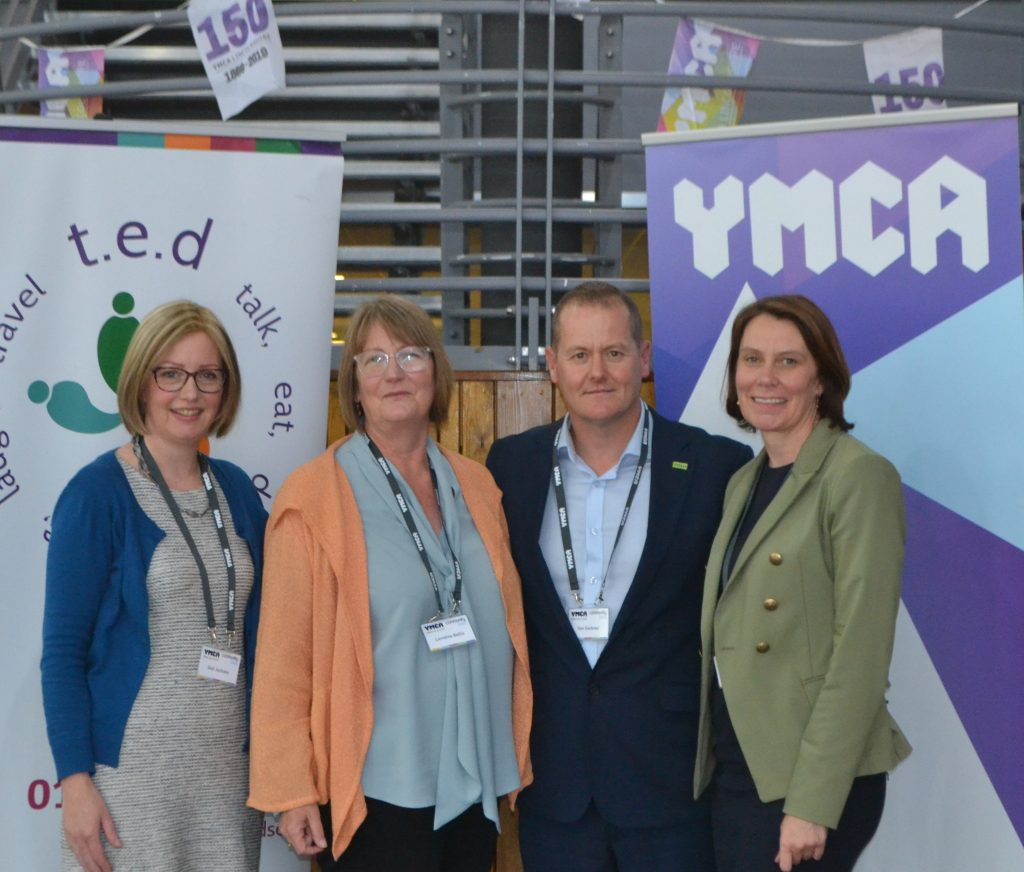 A photo of (Left to right) Gail Jackson - CEO Community Lincs, Lorraine Bellis - Chair of the Board of Trustees Community Lincs, Ian Sackree - Chairman, YMCA Lincolnshire, Caroline Killeavy - CEO YMCA Lincolnshire